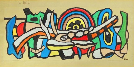 DAVID TUNICK Fernand Leger 1881-1955 MURAL #2 circa 1940 gouache brush and India ink on paper 11 x 24