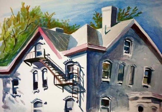 "DeSantis, Snug Harbor, Watercolor,  23 5/8"" H x 31 1/8"" W"