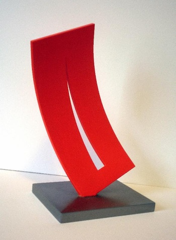 "Lois Teicher, Curved Form with Triangle & Space, Steel, 7 1/4"" x3 1/2"" x 3 1/8"";"