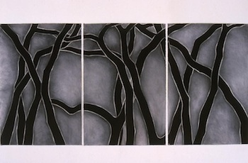 """Ellen Chuse Block Island Triptych, 1998 charcoal and conte on paper, 44""""x90"""""""