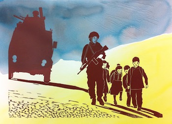Laurie Lee-Georgescu Soldier with Children,  Linocut print with acrylic wash, 15 x 20 inches