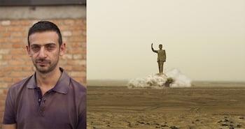 Left: Ali Cherri. Photo: Max Röhrig. Right: Ali Cherri, Pipe Dreams, 2012. Video installation. Courtesy from Videobrasil and the artist.