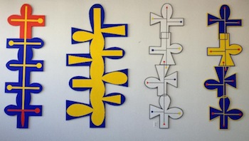 "Fred Bendheim Totems, 96"" high, oil on wood, 2012-2014"