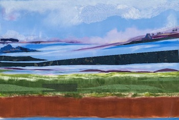 """Gail Flanery Blacktail Mountain, 30""""x45"""",  monotype with pastel and collage, 2014"""