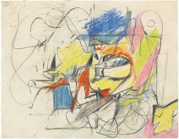 MDNY 2016 Allan Stone Projects offering WILLEM DE KOONING Abstraction c1945 pastel and crayon on paper 8 3-8 in x 11