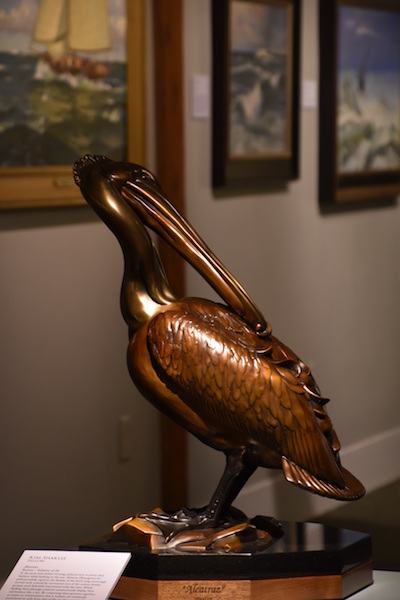 Alcatraz, a bronze sculpture by Kim Shaklee, sits on display at the Chesapeake Bay Maritime Museum in St. Michaels, Md., as part of the 17th National Exhibition of the American Society of Marine Artists
